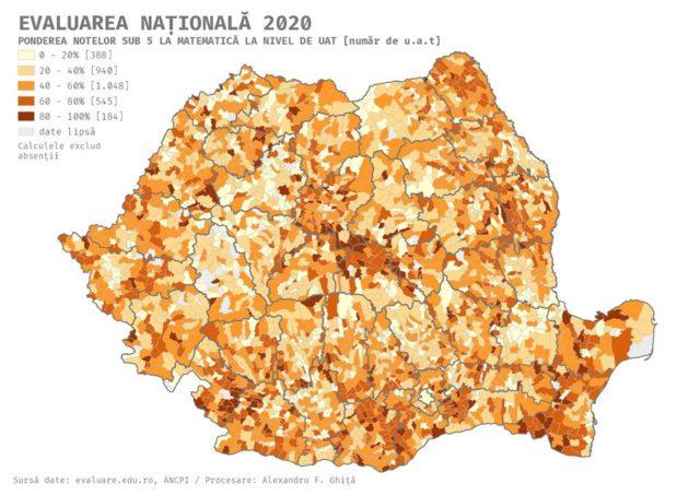 Harta notelor sub 5 la nivel de unitate teritorial-administrativă îăn parte