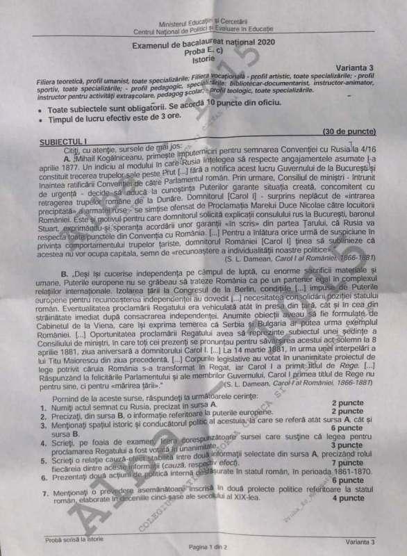 Subiecte BAC 2020 Istorie: Eseu despre evoluția României ...
